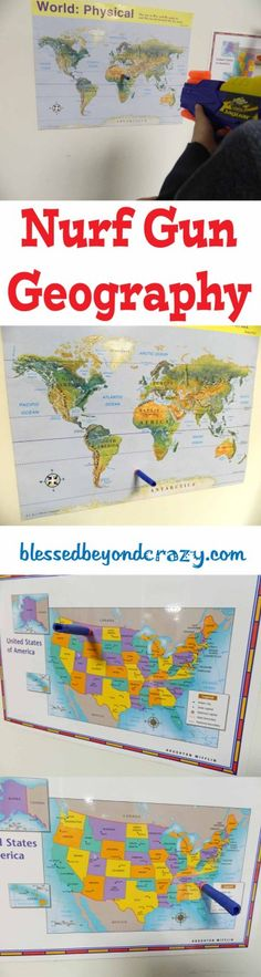 Great geography ideas! Nerf gun, 20 questions