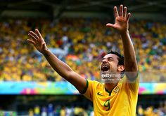 Fred of Brazil celebrates his team's first goal during the 2014 FIFA World Cup Brazil Round of 16 match between Brazil and Chile at Estadio Mineirao on June 28, 2014 in Belo Horizonte, Brazil.