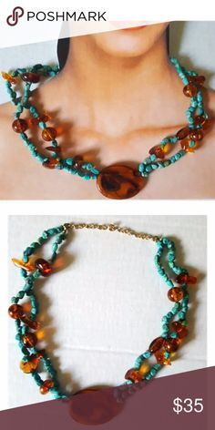 Synthetic Turquoise Amber Beads Handmade Necklace Synthetic Turquoise Amber Beads Handmade Necklace Jewelry Necklaces