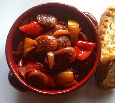 Traditional Spetsofai (Spetzofai) Recipe – Spicy Greek Sausages with Peppers and Tomato sauce