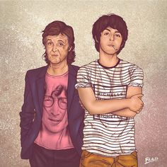 Colombia-based illustrator Fulaleo Obremor has created the project Me and My Other Me, which features seven male icons with their younger selves. | This Artist Has Drawn Celebrities With Their Younger Selves And It's Beautiful