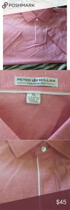 Peter Millar Sz XL Mens Tailored Fit Polo Shirt Excellent preowned condition from smoke free home. Size extra large mens. By Peter Millar.  Has pointed collar with straight sleeve. Red pique. 100% cotton. Peter Millar Shirts Polos