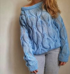 Pullover, Sweaters, Blue, Jumpers, Shoulder, Fashion, Ladies Capes, Tejidos, Moda