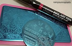 Born Pretty Products. Plate 35 and Plate L002 and Nail art Pen 7 for colouring decals ~ review by rainysunraynails
