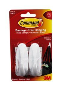 Command Designer Plastic Hooks Value Pack, 2-Small Hook, 2-Medium Hook by Command. $7.00. Amazon.com                  3M Adhesive Technology Command products offer simple, damage-free hanging solutions for many projects in your home and office. Simplify decorating, organizing, and celebrating with an array of general and decorative hooks, picture and frame hangers, organization products, and more. Thanks to the innovative Command adhesive strips, you can mount and remount your Co...