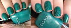 Teal Zebra Stamping with Zoya Nail Polish in Zuza - Zoya Zuza