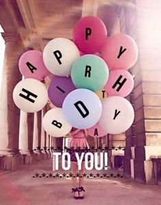 Happy birthday pictures for wife. The happy birthday message is written on beautiful and colorful balloons.
