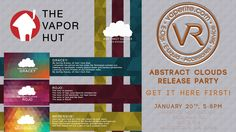 VapeRite will be hosting the Abstract Clouds Release Party at VapeRite Woodstock Tuesday Jan. 20 from 5pm-8pm to celebrate Vapor Hut's NEW line!!!! We are excited that Vapor Hut will be in attendance!! #vape #vapeheaven #vapenation #vaperevolution #vapeco
