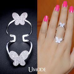 Encontrar Más Anillos Información acerca de Umode más nuevo emitió el anillo del dedo largo para mujeres doble mariposa anillo grande con calidad superior pavimentada piedra de la CZ de la muchacha anillo UR0060B, alta calidad anillo de certificado de, China anillo perl Proveedores, barato anillo de mickey de UMODE Jewelry en Aliexpress.com