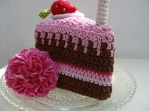 Crocheted Slice of Chocolate Cake - Free Crochet Pattern