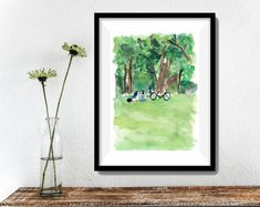 Relaxing under the trees Art  print of original by TheJoyofColor