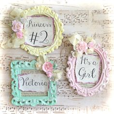 Table numbers place cards frame favor shabby chic country cottage garden  tea party birthday baby bridal 2407b15baf51