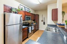 Our kitchens feature stainless steel appliances. #Amenities #TheSocialMurph #StudentLiving #TNApartments Student Living, Stainless Steel Appliances, Kitchen Cabinets, Home Decor, Decoration Home, Sorority Sugar, Stainless Appliances, Room Decor, Cabinets