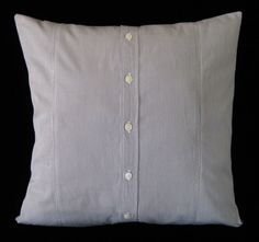 """KD Peony's clever and fun Blue & White Striped Oxford Upcycled 16""""x16"""" Pillow Cover"""