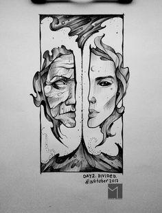 Мой рисунок для inktober 2017. Day2. Divided. #inktober2017 #inktober