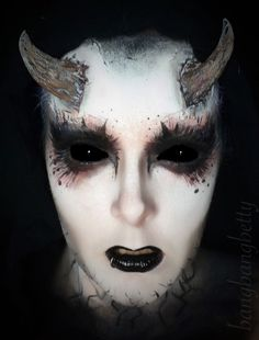 Halloween demon makeup! Halloween, creepy makeup, makeup art, black lips, halloween makeup ideas, black eyes, demon, scary