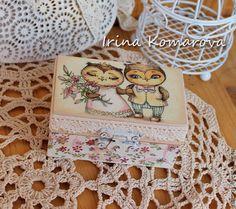 """Купить """"Совушкина свадьба"""" шкатулка для колец - белый, совы, жених и невеста, инга пальцер"""