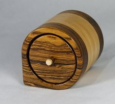 """Band saw box made from bocote and 3 sheets of 3/4"""" baltic birch plywood laminated together. Finished with Highland Woodworking's 3-part finish."""