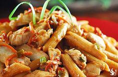 Penne With Chicken And Peanut Sauce - Blooming with a fresh blend of bright vegetables, this dinner serves your family proud with a delicious, velvety peanut sauce smothering penne pasta. The dinner is loaded with lean chicken breast slices that satisfy robust appetites. Super easy in just 15-20 minutes.