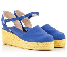 6251a59dd510 Castaner CLARA Quarter-strap mid heel espadrille wedge sandals in blue  canvas upper. Fratelli Karida
