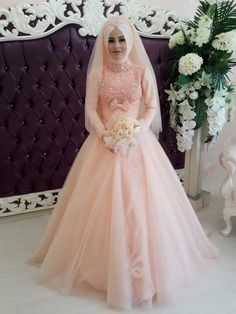 Light Pink Long Sleeve Wedding Dress - : Bridal And Wedding Jewelry Modest Fashion, Hijab Fashion, Hijab Style Tutorial, Beautiful Prom Dresses, The Dress, Tulle, Gowns, Bride, Wedding Dresses
