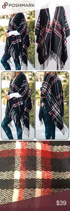 """Amazing Plaid Fringe Kimono Poncho Blanket Scarf Be cozy & cute in this adorable plaid kimono cardigan wrap blanket scarf. Soft light-midweight acrylic knit in black red & white with fringe hem. Love it so much.  Poncho - kimono wrap - blanket scarf style cardi WITHOUT armholes. Oversized slouchy loose fuzzy  46"""" x 35"""" One Size Fits Most long Accessories Scarves & Wraps"""