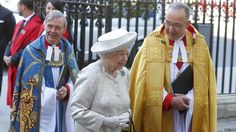 The Queen leaves Westminster Abbey after the service to commemorate the 60th Anniversary of her Coronation - 4 June 2013