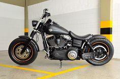 "Leonardo's Harley Davidson Fat Bob with extende Voodoo Fender & 4"" Zombi Bars   Rocket Bobs"