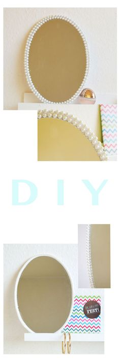 DIY: mirror frame out of rope and pearls http://www.sousou-design.de/?p=1562