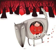 Little Red Riding Hood - Le petit Chaperon Rouge - Horvath Ildiko Little Red Ridding Hood, Red Riding Hood, Wolf Kids, Kids Wall Decor, Red Hood, Children's Book Illustration, Food Illustrations, Nursery Prints, Graphic