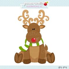 Sitting Reindeer - JW Illustrations, Cute #Christmas Reindeer #graphic #clipart #illustration {Daily Free Graphic!}