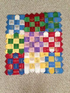 Ribbon quilt that I made with swimming ribbons Horse Ribbon Display, Show Ribbon Display, Horse Show Ribbons, Ribbon Quilt, Diy Ribbon, Ribbon Crafts, Sewing Crafts, Sewing Projects, Craft Projects