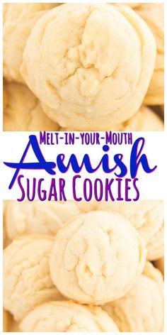 Soft puffy melt-in-your-mouth Amish Sugar Cookies! SO EASY and made with common pantry ingredients! Soft puffy melt-in-your-mouth Amish Sugar Cookies! SO EASY and made with common pantry ingredients! Cake Mix Cookie Recipes, Butter Cookies Recipe, Chocolate Cookie Recipes, Yummy Cookies, Puffy Sugar Cookie Recipe, Simple Cookie Recipe, Melt In Your Mouth Sugar Cookie Recipe, Easy Simple Cookies, Easy Sugar Cookie Recipes