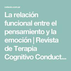 La relación funcional entre el pensamiento y la emoción | Revista de Terapia Cognitivo Conductual