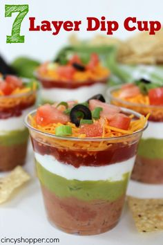 "7 Layer Dip Cup Recipe. Perfect for my ""dish to pass"" this evening. Easy and so convenient!"
