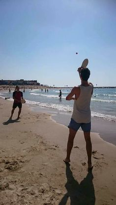 """Hey all, Abraham here. Playing with beach rackets aka """"Matkot"""", is an Israeli sport in which you can't win your opponent. You actually win together if you beat the amount of hits without letting the ball touch the ground ;)"""