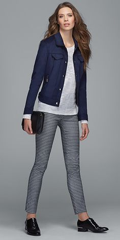 I like a subtle pattern on dress pants. I have similar items Business Casual Outfits, Office Outfits, Chic Outfits, Fashion Outfits, Outfits Leggins, Trouser Outfits, Work Fashion, Trendy Fashion, Womens Fashion