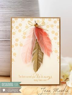 handmade card using Fine Feathers set from Waltzingmouse Stamps ... kraft and peachy colors ... like the way the feathers are arranged and the background stamping of circles ...