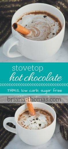 Stovetop Hot Chocolate...this delectable hot beverage is perfect for warming up in the mornings.  THM:S, low carb, sugar free