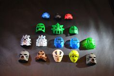 Large Collection of Vintage Lego Bionicle Helmets, Heads, and Krana Masks.