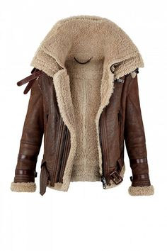 Burberry shearling and brown leather coat