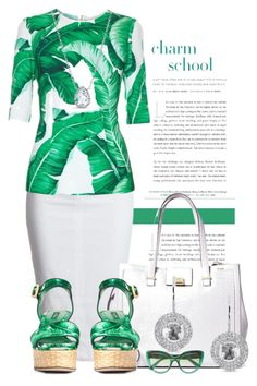"""""""Leaf Print (2)"""" by queenrachietemplateaddict ❤ liked on Polyvore featuring Dolce&Gabbana, Brooks Brothers, Anne Sisteron, sandals, GreenandWhite and leafprint"""