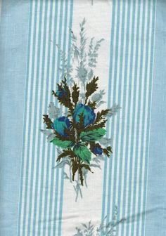Blue stripes & roses print Boussac Romanex cotton fabric single bed cover bedspread - French 50s 60s vintage