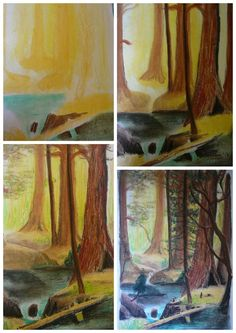 """Chalk pastel art appreciation of Albert Bierstadt's """"Giant Redwood Trees of California"""""""
