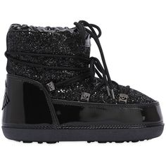 Chiara Ferragni Women 30mm Glittered Snow Boots ($210) ❤ liked on Polyvore featuring shoes, boots, black, glitter boots, small heel shoes, rubber sole boots, low heel shoes and rubber sole shoes