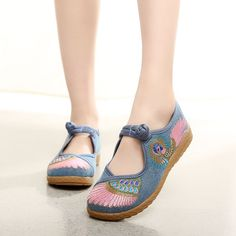Women Embroidered Slippers Shoes Chinese Flower Peacock Wings Canvas Shoes XZ023 #Nibox #Chinesestyle #Casual