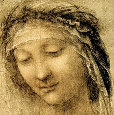 79. The Head of the Madonna, 1515, Red and black chalk, brush and dilute ink and white heightening on pale red prepared paper