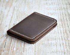 Portefeuilles pour hommes - conception de poche avant - portefeuille de carte de crédit de crédit minimaliste fait à la main en cuir, portefeuilles en cuir, fait main en cuir