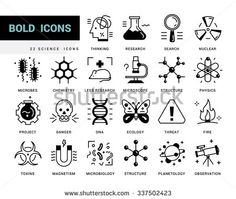 Creative contemporary icon set in a linear style. Scientific experiments, physics and chemistry, biology, microbiology, nuclear, biological weapons of mass destruction, medical testing on animals. - stock vector