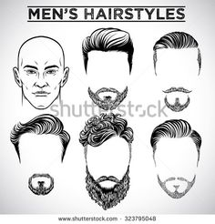 Find Retro Illustration Barber Man stock images in HD and millions of other royalty-free stock photos, illustrations and vectors in the Shutterstock collection. Men Hairstyle Names, Haircut Names For Men, New Men Hairstyles, Guy Drawing, Woman Drawing, Drawing Style, Drawing Heads, Male Character, Character Design